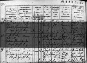 Kirchenbucheintrag zur Geburt von Anna Moser 1829